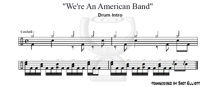 We're An American Band - drum intro